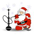 Santa smokes a hookah vector