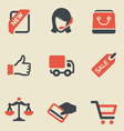 Shopping black and red icon set vector