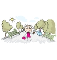 Girl eating ice cream in park vector