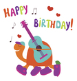 Happy birthday card with turtle guitarist vector