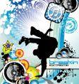 Break dance background vector