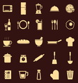 Kitchen color icons on dark background vector