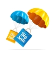 Sale labels with parachute vector