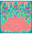 Invitation card with abstract flowers and leaves vector