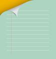 Lined paper with bent corner vector