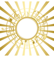 Gold music card with rays vector