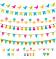 Colorful bunting and garland set vector