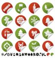 Red and green christmas stickers vector