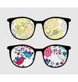 Retro sunglasses with patriotic birds reflection vector