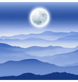 Background with fullmoon and mountains in the fog vector