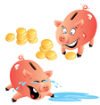 Set of emotions cartoons piggy bank and money vector