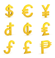 Finance icon currency gold button set vector
