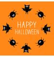 Cute bat and spider round frame happy halloween vector
