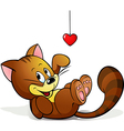 Cute cat playing with heart decoration vector