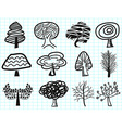 Doodle tree icons vector