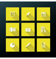 Flat office icon set vector