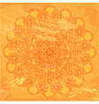 Abstract circle lace pattern on orange grunge back vector