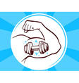Strong man hand with icon of dumbbell on vector