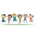 Happy children jumping vector