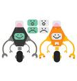 2 cute flat robots vector