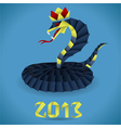 Paper origami snake with 2013 year vector