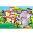 A deer and an elephant running at the hilltop vector