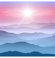 Background with sun and mountains in the fog vector