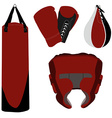 Boxing gloves bag and helmet vector