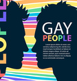 Profiles of two men homosexual couple with place vector