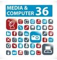 36 media  computer buttons vector