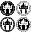 Native american indian headdress stencils vector