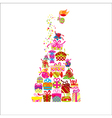 Christmas greeting card colorful present vector