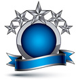 Heraldic 3d glossy blue and gray icon - can be vector