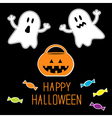 Happy halloween set ghosts pumpkin candies card vector
