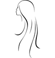 Beautiful woman head - black line drawing vector