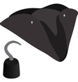 Pirate hat and hook vector