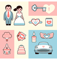 Wedding flat set vector