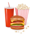 Hamburger and popcorn vector