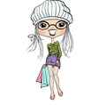 Cute hipster fashion girl with shopping vector