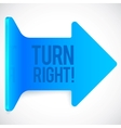 Blue realistic plastic turn right arrow vector