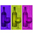 Bottles wine and glasses vector