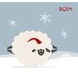 Funny sheep santa symbol of new year 2015 vector