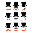 Ginger mustache or moustache with hat and glasses vector