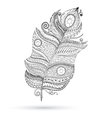 Ethnic doodle feather on white background vector