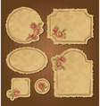 Set of retro floral vintage frames and labels vector