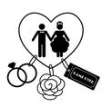 Cartoon funny wedding symbols - game over vector