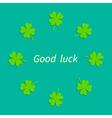 Four leaf clover round frame good luck flat design vector