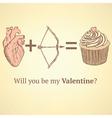 Sketch cute valentine card vector
