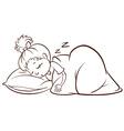 A simple sketch of a girl sleeping vector