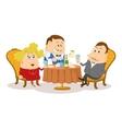 Restaurant couple near table isolated vector